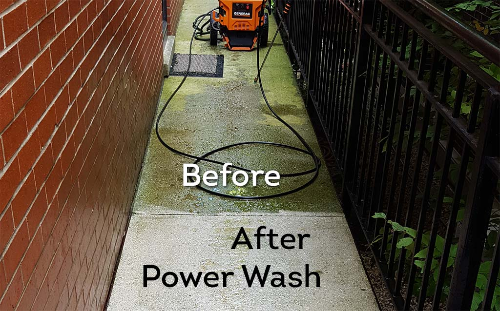 Before and after photo of a power wash job