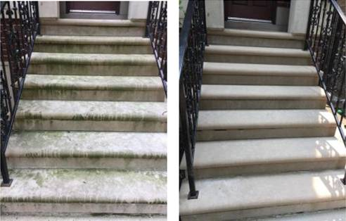 Before and after image of a power wash service by Smiling Windows.